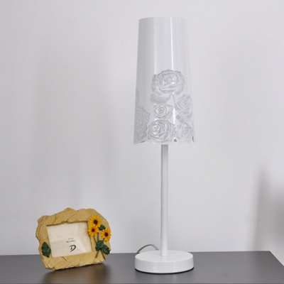 White Finished Stainless Steel Flower Carved Designer Table Lamp