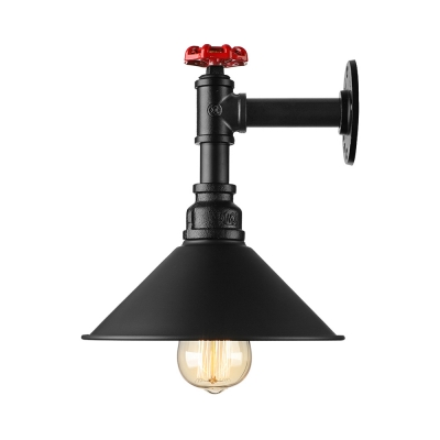 Black Pipe Wall Sconces : Industrial Style Black 1 Light Wall Sconce - Beautifulhalo.com