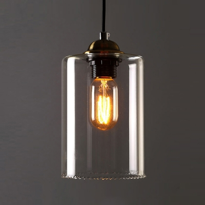 1 Light Mini Pendant Light With Cylindrical Shade In Clear
