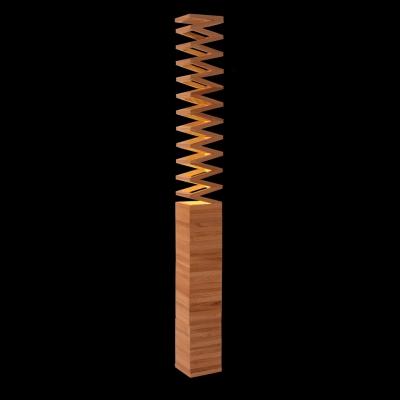 472high wood base spiral designer floor lamp in natural for Spiral wood floor lamp