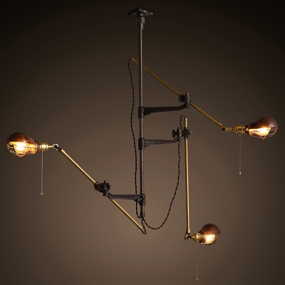 Vintage brilliant design gourd shaped industrial retro 3 light wall light with swing arm Beautiful swing arm wall lamps and sconces