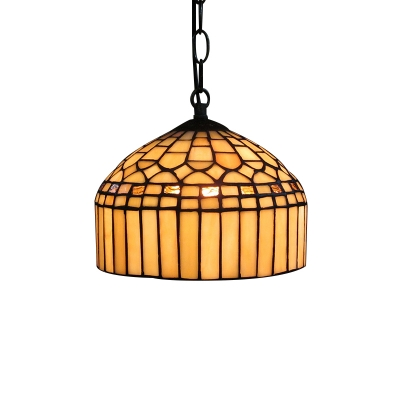 Dome Shade Hand Made Stained Glass Tiffany One Light
