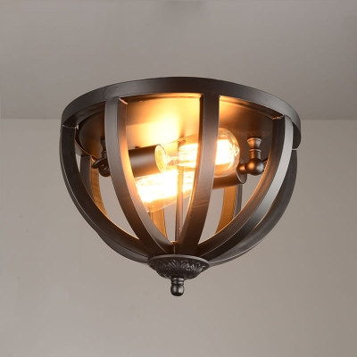 Wrought Iron 2 Light Flush Mount In Black Cage