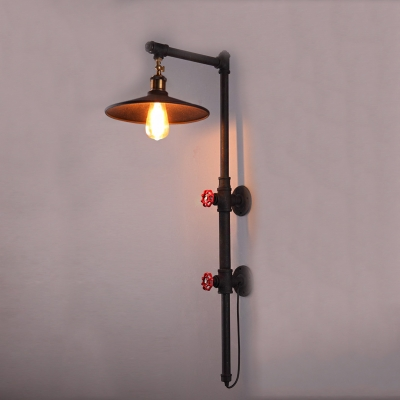 Fashion style pipe wall sconces industrial lights for Black iron pipe lights