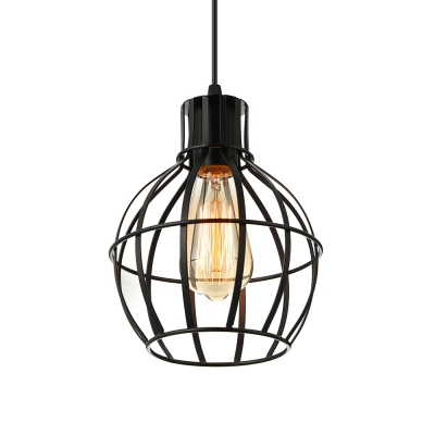 Satin Black 1 Light Iron Lattice Globe Mini Pendant Light ...