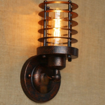 8 39 39 height antique copper 1 light mini wall sconce with cylindrical cage - Cylindrical wall sconce ...