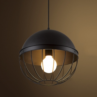 12'' Wide Black Iron Pendant 1 Light Industrial Pendant
