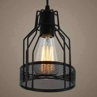 Industrial 1 Light Mini-Pendant with Black Metal Wire Mesh