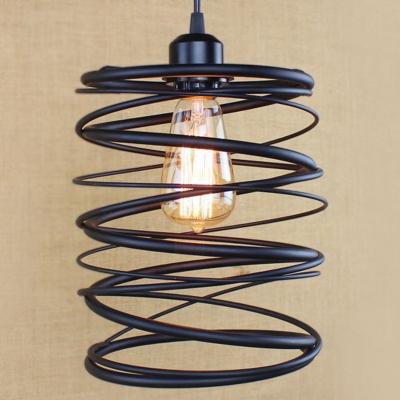 Industrial Stacked Satin Black  1 Light  Mini-Pendant