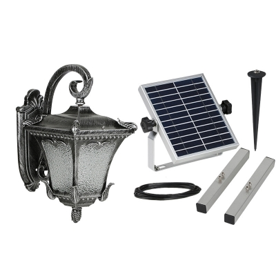 Gunmetal Grey Wall Lights : Old Gun Metal Grey 14 High Solar Powered LED Wall Light with Ripple Glass Shade ...