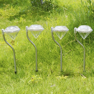 Pack Of 4 Diamond Shape Color Changing Solar Powered Outdoor Decorative Garden Stake