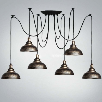 Six Light Multi Light Pendant Lighting With Bowl Dome