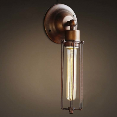 Retro Style Antique Copper 1 Light Wall Sconce with Wire Cage - Beautifulhalo.com