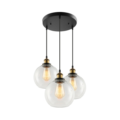 Country Style Three Light Multi Light Pendant With Clear