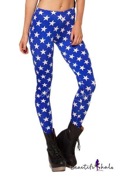 Buy Star Print Deep Blue Skinny Leggings