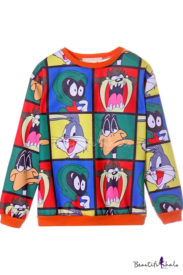 Buy Cartoon Pattern Print Round Neck Batwing Long Sleeve Sweatshirt