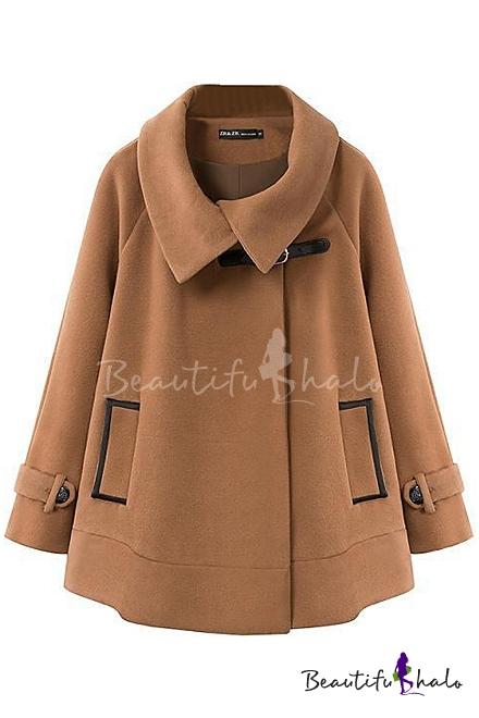 Buy Fashionable Batwing Long Sleeve Loose Crop Woolen Poncho