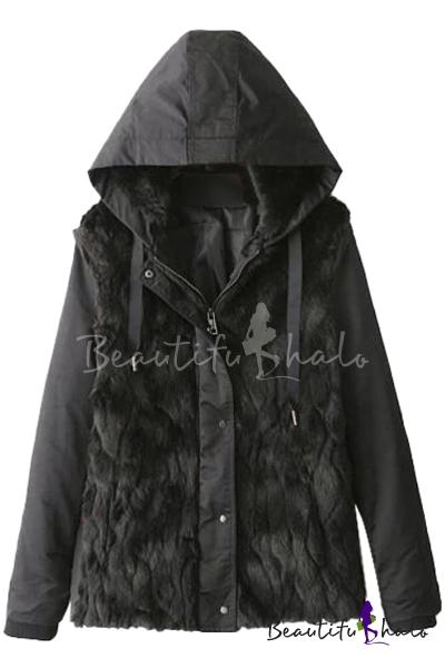 Buy Plain Fur Panel Zipper Fly Long Sleeve Cotton Added Coat Drawstring Hood