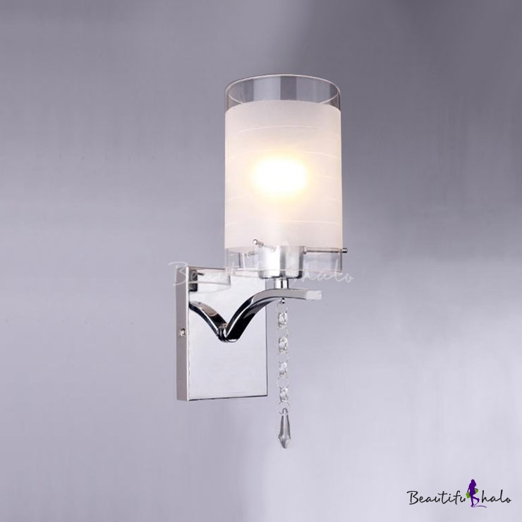 Elegant White Glass Shade and Clear Crystal Embellished Dazzling Single-light Wall Sconce ...
