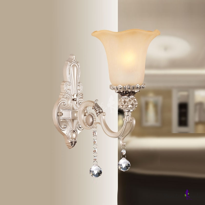 Beautiful European Style Crystal Accent Wall Sconce Adorned with White Finish Alloy Base Topped ...