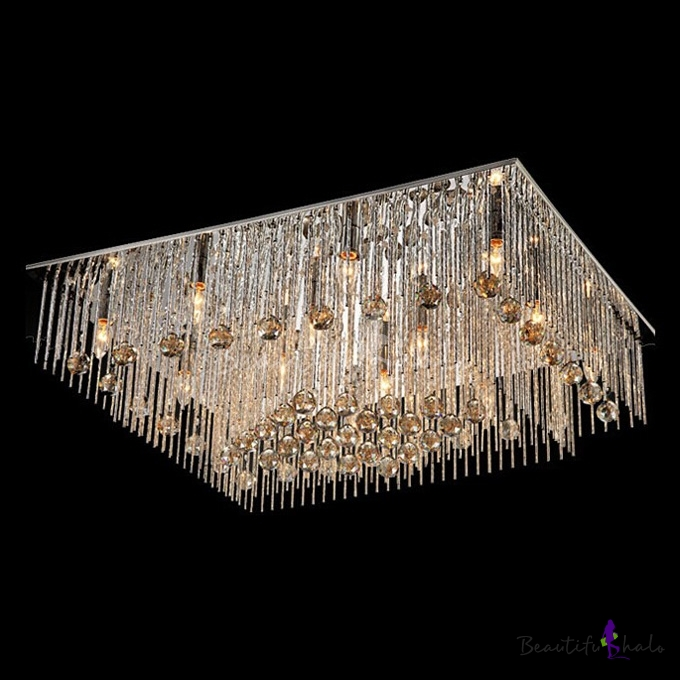 Buy Graceful Aluminum Rods Falling 27.5 inchWide Large Rectangular Crystal Accented Flush Mount