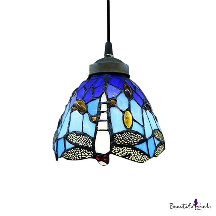 6 Width Tiffany Style Mini Pendant Light Spotlighted With Vivid Dragonfly