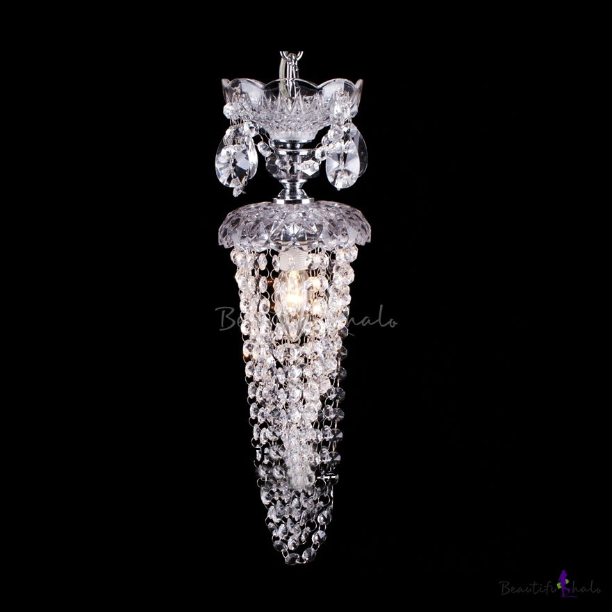 Buy Glittering Clear Glass Crystal Strands Mini Pendant Chandelier Light One