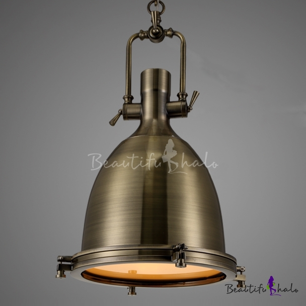 Industrial 1-Light Dome Shade Pendant Light Frost Glass