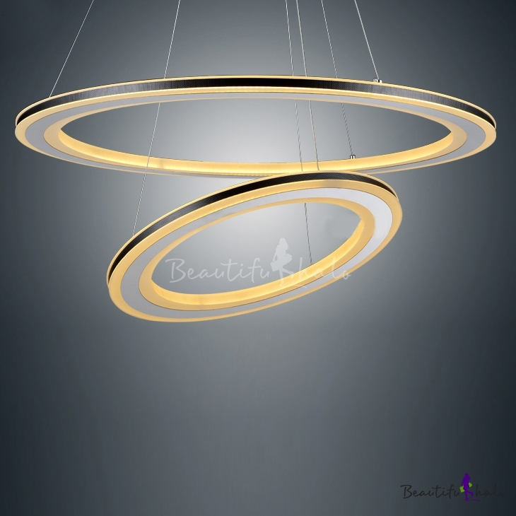 Buy Black Simple Two Tiers Modern LED Round Pendant