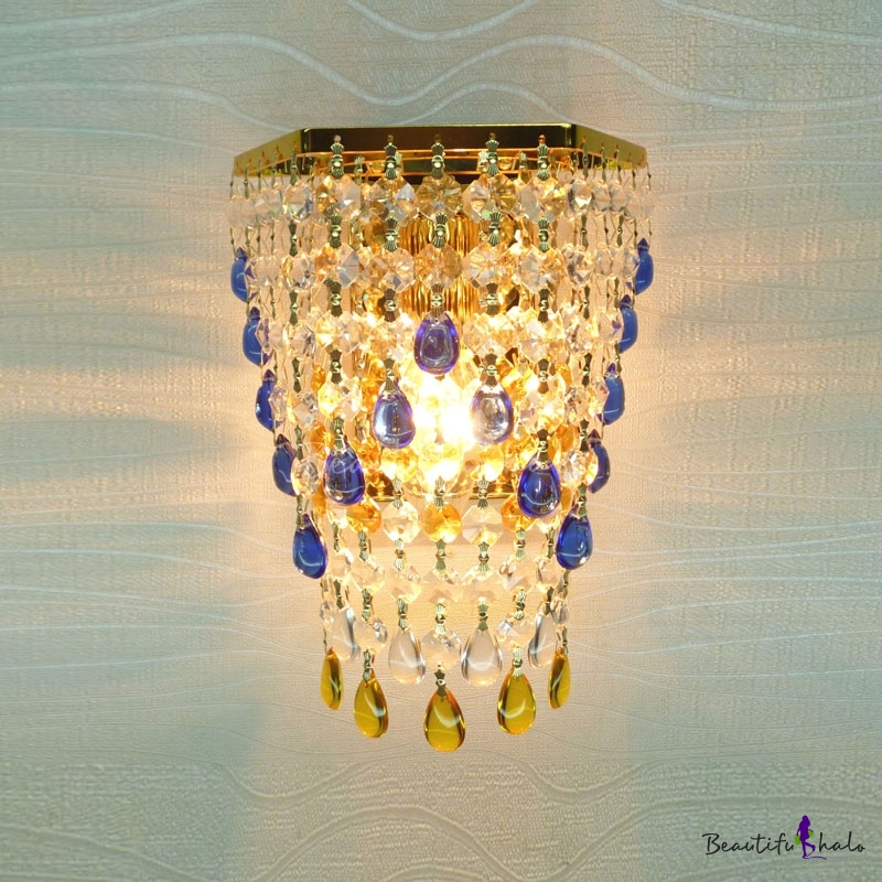 Romantic Strands of Crystal Beads Hanging From Luxury Gold Finish Single Light Wall Sconce ...