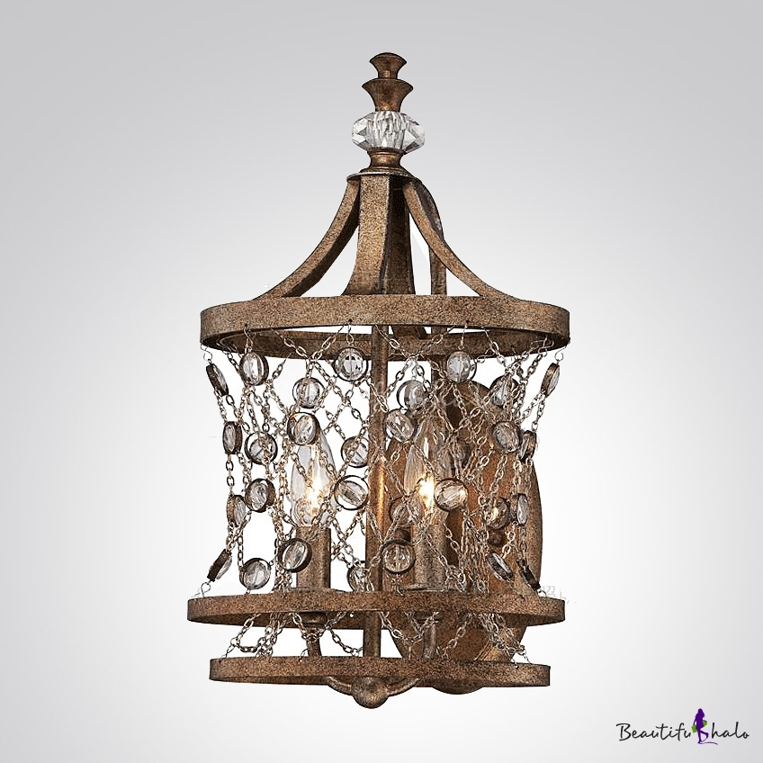 Buy Eye-catching Handsome Wall Lights Adorned Wrought Iron Frame supports Crystal Accents