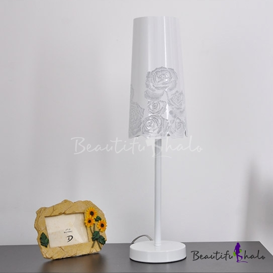 Buy White Finished Stainless Steel Flower Carved Designer Table Lamp
