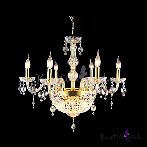Buy 9 Candle Light Golden Finished Center Crystal Strands Bowl Chandelier