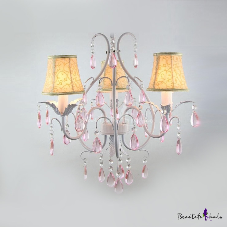 Buy Three Light Romantic Rose Details Drum Shade Dropling