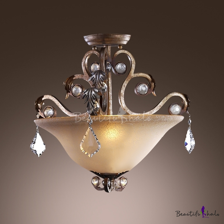 Buy Olde Silver Finish Faceted Crystal Drops Create Graceful Outline Stunning Semi Flush Ceiling Light