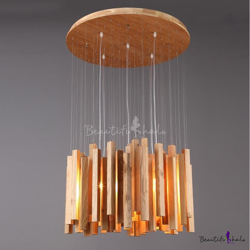 "Buy 23.6""Wide Round Wooden Canopy Cluster Sticks Designer Pendant Light"