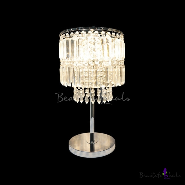 Buy Electroplated Chrome Dimming Single Light Table Lamp Adorned Gorgeous Square Crystals Round Steel Base