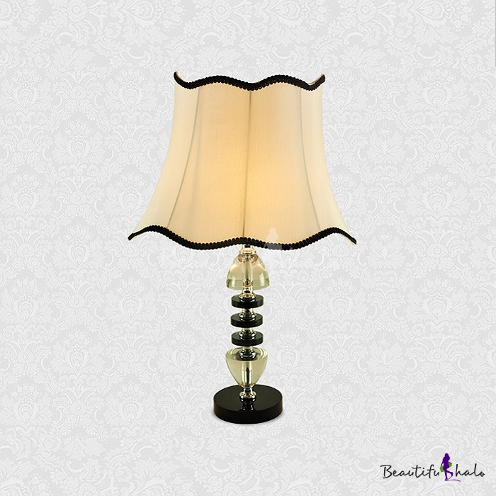 Buy Modern Beautiful Table Lamp Feature Black Trimmed White Fabric Shade Crystal Embellishments