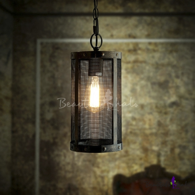 Buy LOFT Wrought Iron Short Cylinder Net Mini Pendant