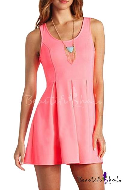 Buy Tri Cutout Heart Back A-line Pink Tanks Dress