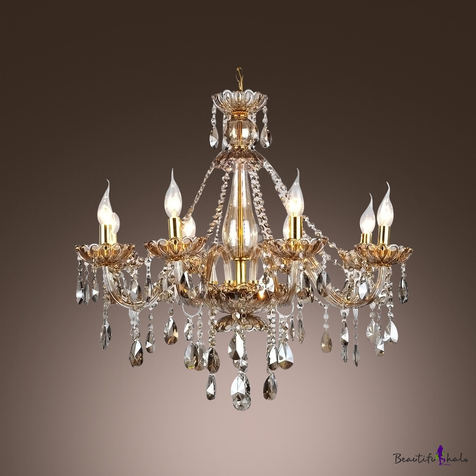 Crystal droplets cascades 8 light 23 6 inchhigh traditional chandelier