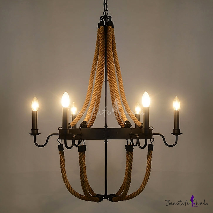Buy 30 inch Wide Large Rope Chandelier 6 Light Olde Iron Black Finish