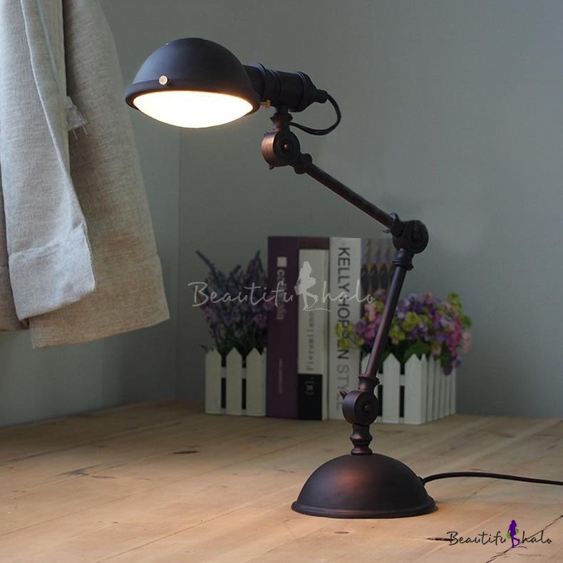 Black Finish Industrial Task Lighting Table Lamp