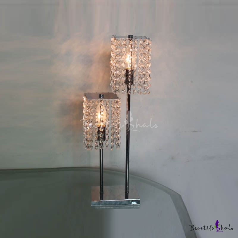 Buy Distinctive High-low Two-light Table Lamp Adorned Beautiful Clear Strands Crystal Beads Sleek Chrome Finish