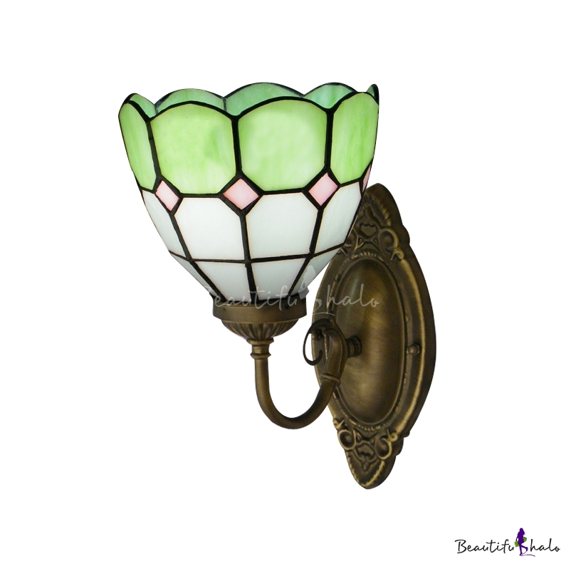 Buy Spring Green White Tiffany Glass Shade Wrought Iron Wall Sconce