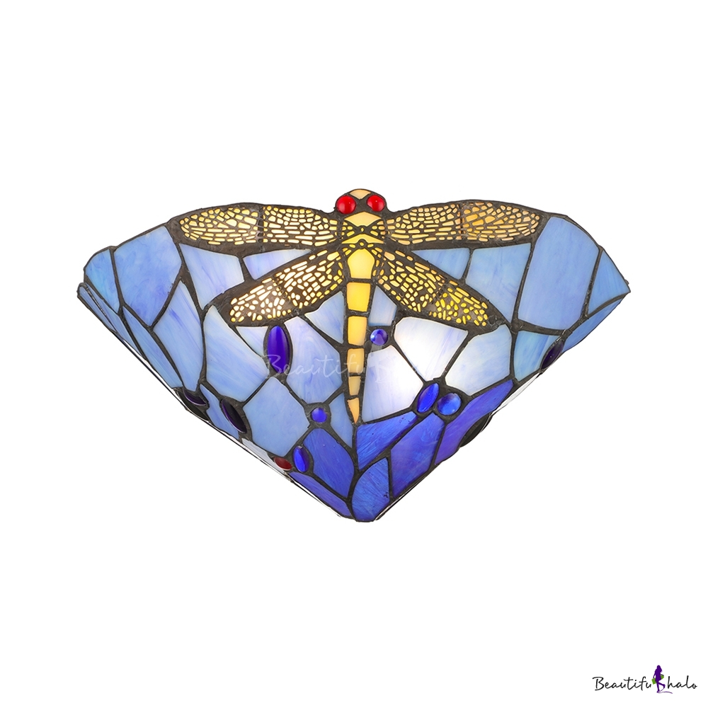 Dragonfly Pattern Tiffany One Light Wall Sconce 12 Inches Width Shade - Beautifulhalo.com