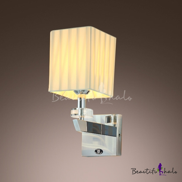 Buy Stunning Modern Wall Sconce Makes Great Decor Faceted Crystal Bobeche Beige Fabric Shade