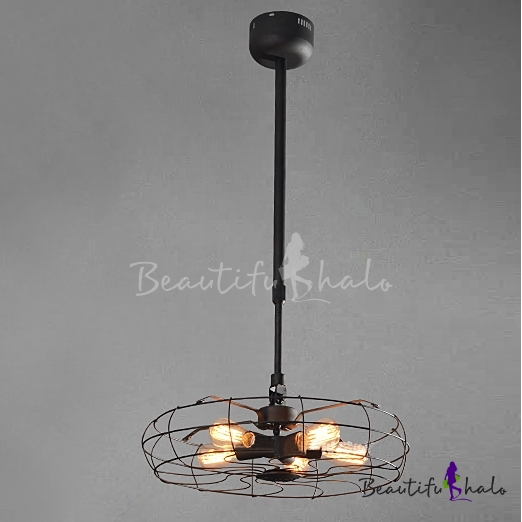 Buy Suspension Industry Wrought Iron Fan Five-light Pendant