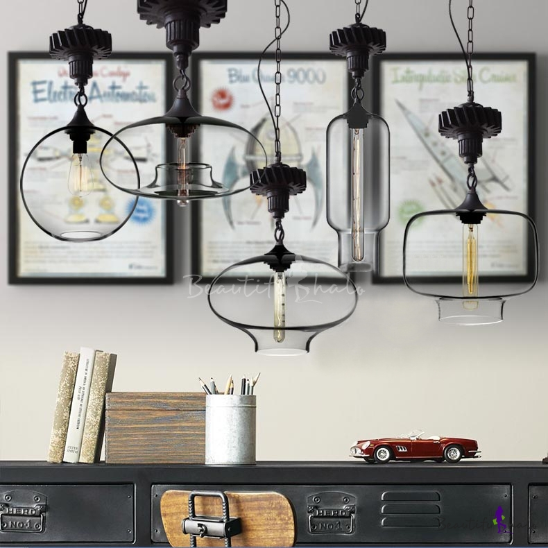 Buy Nut Adorned Clear Glass Industrial Pendant Light