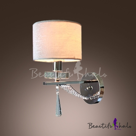Buy Sparkling Modern Wall Sconce Makes Great Decor Faceted Crystal Drop Elegant Silver Fabric Shade